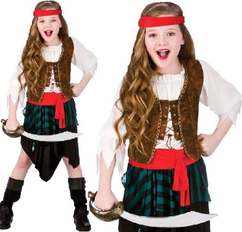 Childrens Fancy Dress Caribbean Pirate Girl Costume Childs Pirate Outfit New w