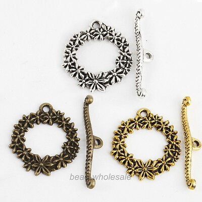 Lots 20 Sets Tibetan Antique Silver Flower Circle Toggle Clasps Findings 24x21mm