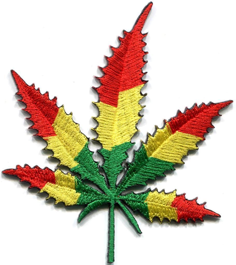 Marijuana leaf pot weed flag of Judah retro boho applique iron-on patch S-1081