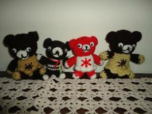 OOAK-Handmade-Knitted-Teddy-Bears-Lot-of-4