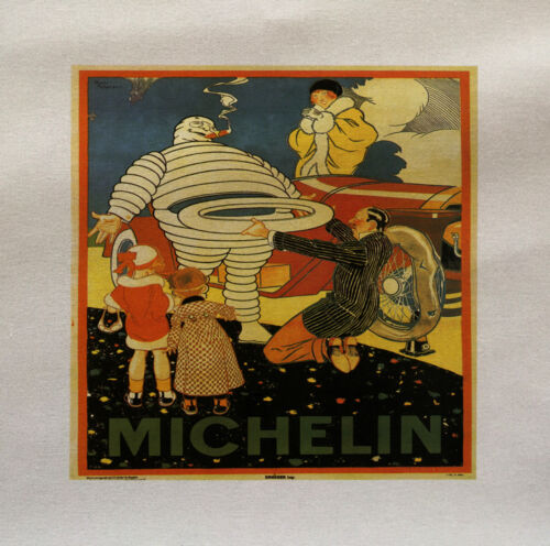 MIchelin Man Tyres Printed Fabric Panel Make A Cushion Upholstery Craft