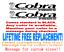 Lifetime Warranty! Pair of 3.25 x 19 inch Cobra Boat hull logo Decal
