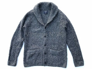 Abercrombie-Fitch-AF-Jeans-Mens-M-Marled-Gray-Cozy-Shawl-Collar-Cardigan-Sweater