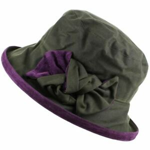 Impermeabile Brim Womens Green And Wax Ladies Purple Bow Hat Peak Cloche WIEDH29