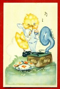 PHONOGRAPH-GRAMOPHONE-AND-CHICKEN-VINTAGE-POSTCARD-734