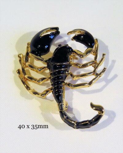 CG7084.. /& Chapado en Oro Esmaltado Broche De Scorpion libre de Reino Unido P/&p