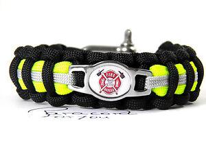 POMPIER-Paracord-armband-feuerwehr-armband-edelstahl-charm-logo-schakel