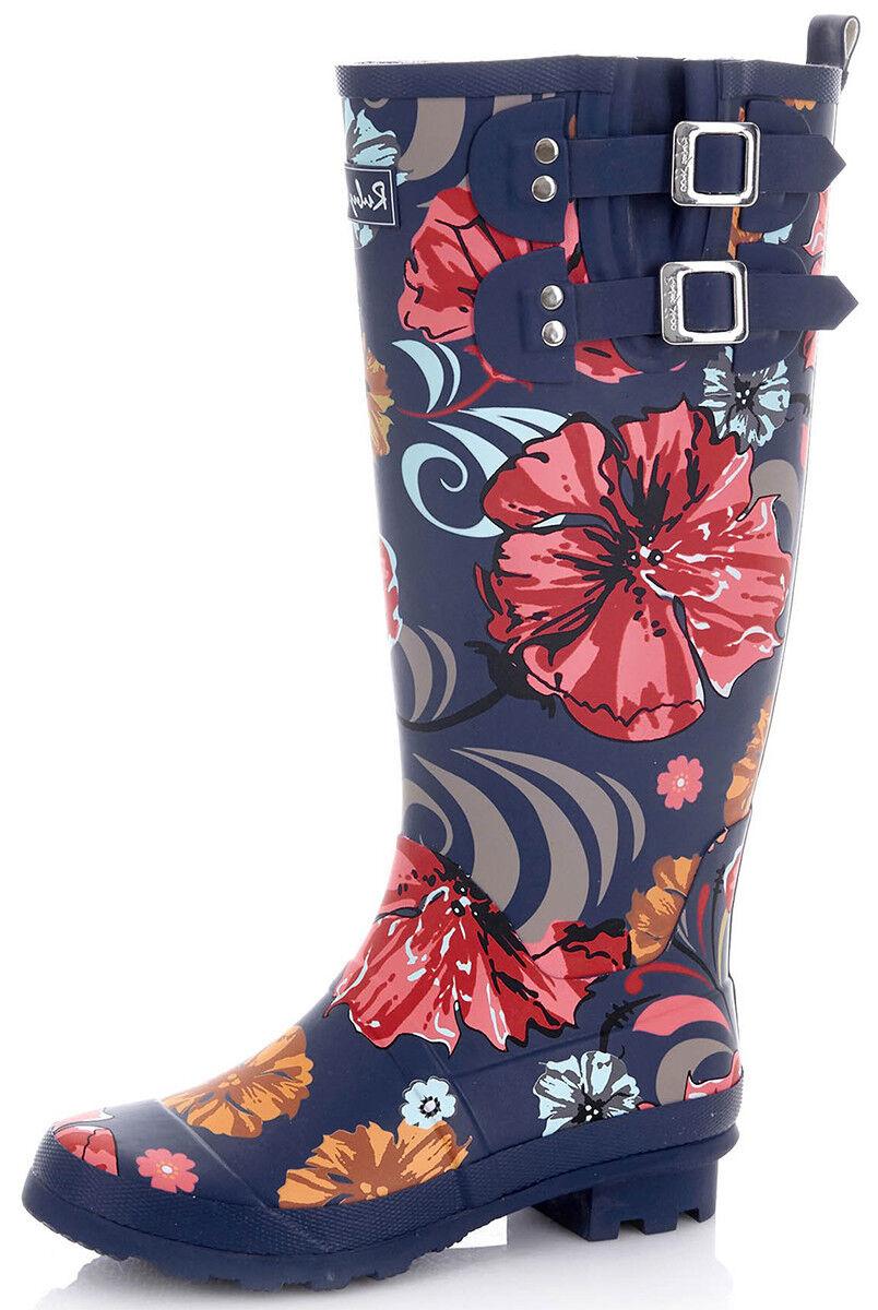 Ruby Shoo ESME Vintage FLORAL Blumen GUMMISTIEFEL Wellington Boot Rockabilly