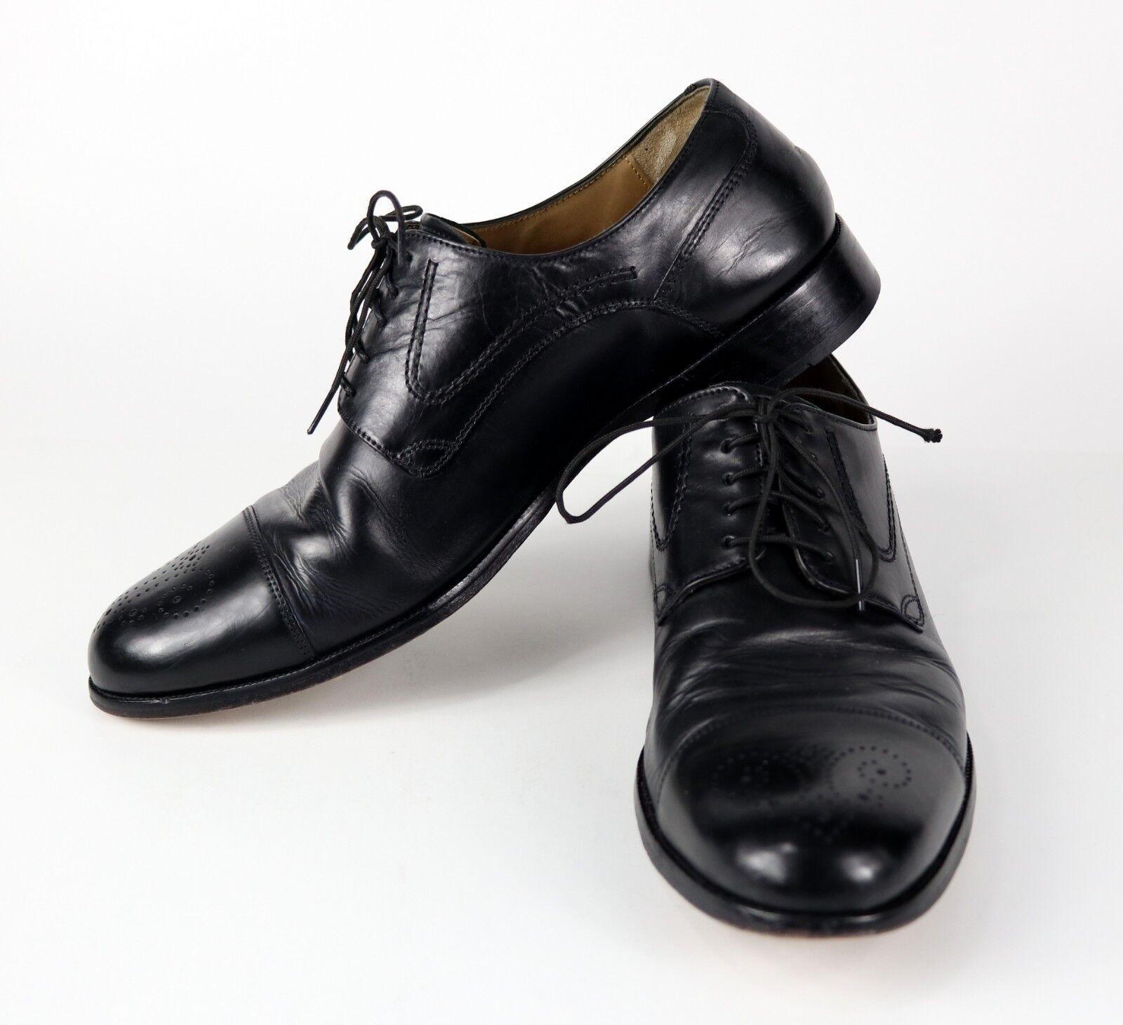 Black Signature   JOHNSTON MURPHY   Men's 10 B M Leather Cap Toe Dress shoes