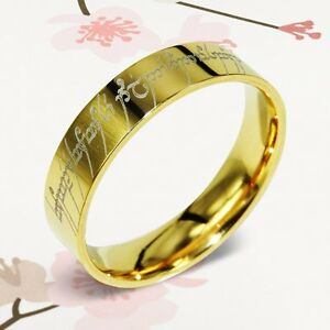 Custom Lord of the Rings Elvish Flat Men Ring Wedding Bands Titanium