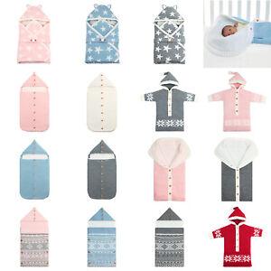 Newborn-Infant-Baby-Boy-Girl-Swaddle-Sleeping-Bag-Wrap-Warm-Knitted-Blanket-LOT