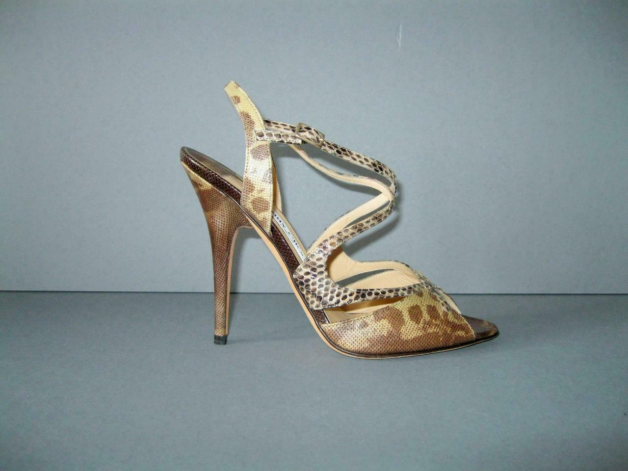 AUTHERENTIC NUOVO  JIMY CHO 39.5 LIZARD NATURALE OPEN TOE STRAPPY SANDALS NWOB  vendite online