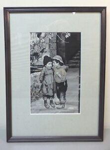 """1900 Framed Original Neyret Freres French Woven Silk Tapestry """"the Secret"""" C"""