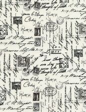 Timeless Treasures April In Paris French Script Cream Fabric