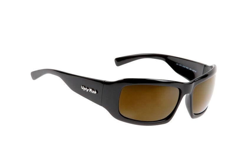 Ugly fish polarisé lunettes de soleil gale PC3088 noir brillant avec marron lens