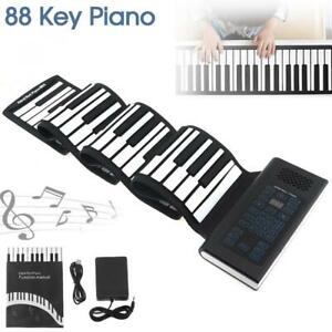 Travel-Foldable-88-Keys-Flexible-Electronic-Hand-Roll-Piano-w-Silicone-Keyboard