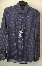 JOHN LENNON S  Button Dress Shirt Navy Blue Pattern with Chest Pockets NWT