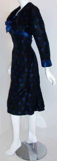 CEIL CHAPMAN 1960s Black and Blue Silk Cocktail D… - image 4