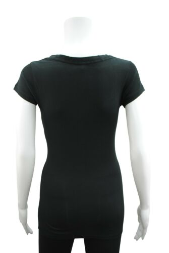 Womens Short Sleeve Button T-Shirt Top Ribbed Cotton Size 18 Black PC