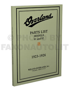 Overland-91-and-92-Parts-Book-1923-1924-1925-1926-Willys-Illustrated-Catalog