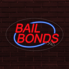 Brand New Bail Bonds Withborder Oval 30x17x1 Inch Led Flex Indoor Sign 34146