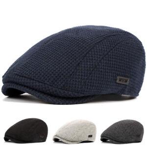 Homme-Femme-Beret-Chapeau-Casquette-Plate-Unisexe-Laine-Coton-Crochet-Hiver-Cap