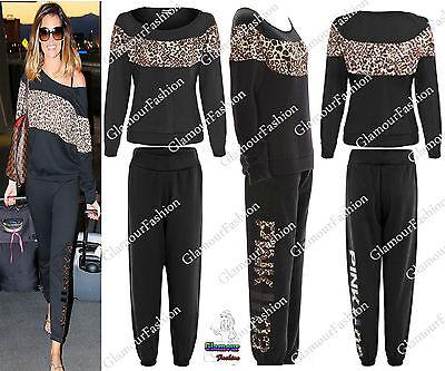 Celeb Ladies Jess Wright Off Shoulder Leopard Print Sweater Jogger Tracksuit Set