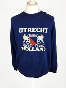 Vintage-Retro-XL-Preloved-90s-Dark-Blue-Red-Utrecht-Holland-Sweatshirt-Jumper