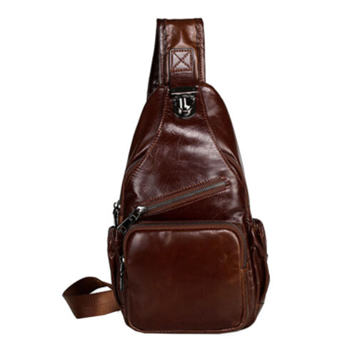 Men Oil Wax Genuine Leather Sling Chest Pack  Messenger Shoulder Cross Body Bag