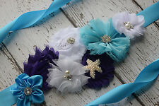 Turquoise purple white Sash , flower Belt, maternity sash, beach sash