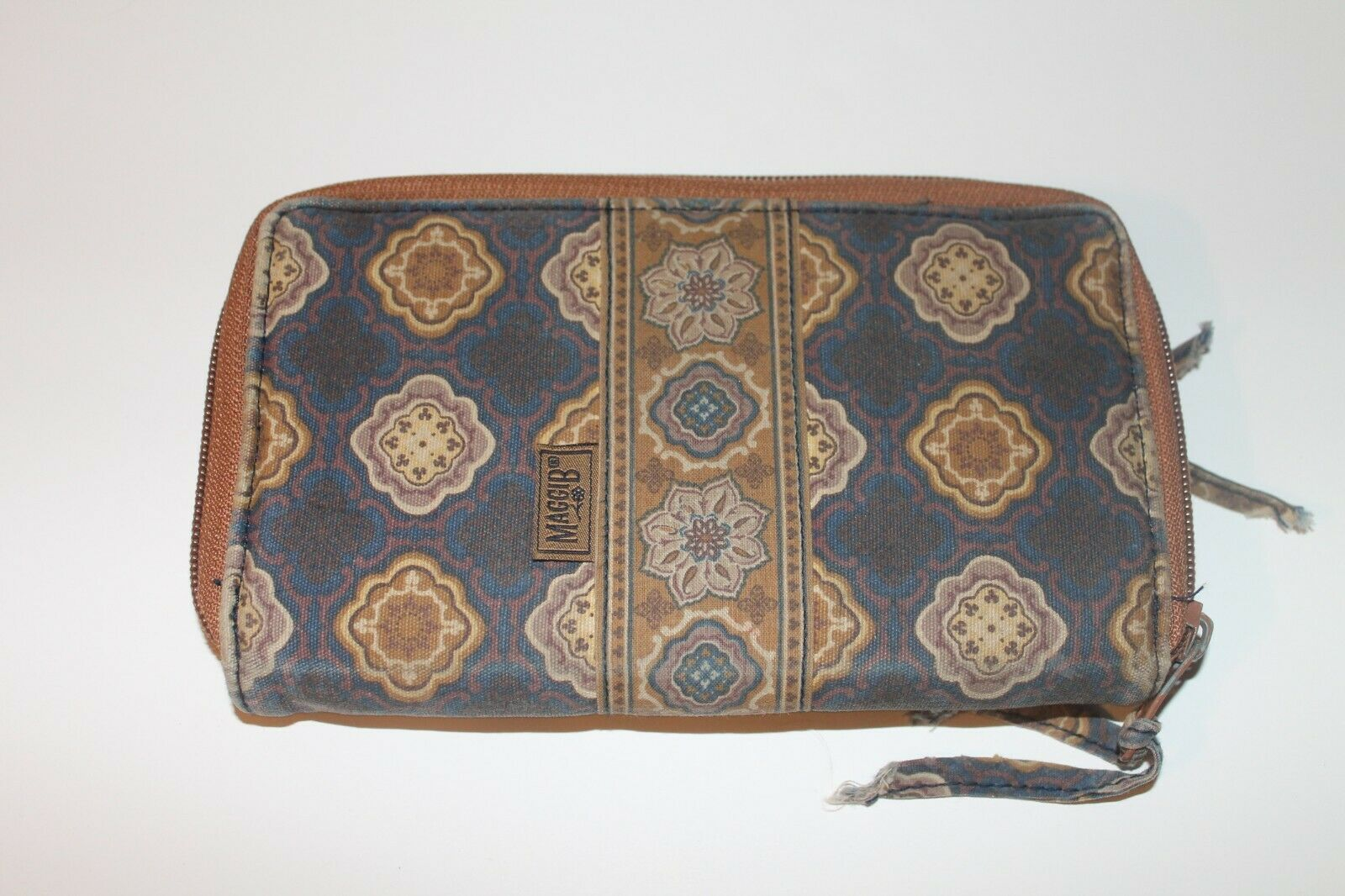 MAGGIB -Women's Zip Around Wallet-Blue and Brown Floral-Great Condition