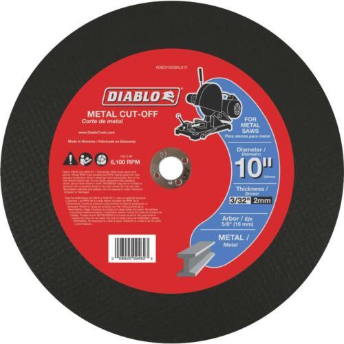 Diablo Type 1 10 In x 5//8 In x 3//32 In Metal Cut-Off Wheel DBD100093L01F 1