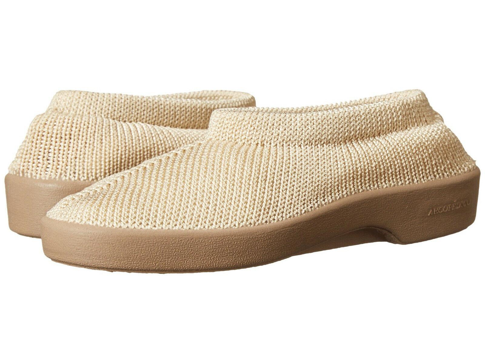 Arcopedico NEW SEC Womens Beige 1141 Vegan Knitted Nylon Comfort Slip On Shoes