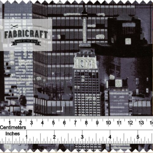A New York State of MInd Skyscrapers on Black 1 metre 100/% cotton fabric