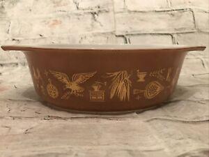 VTG 60's Pyrex Federal Eagle 043 Brown Oval Baking  Casserole Dish 1.5QT MINT