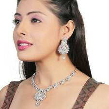 Indian Traditional Ethnic Designer Silver Tone Necklace Earrings Jewellery Set