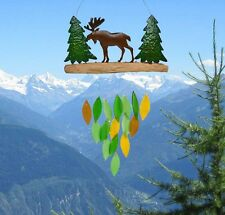 Rustic Moose Wind Chime Colored Glass and Wood Lodge Decor
