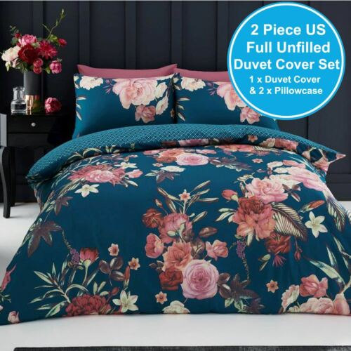 US FULL UNFILLED DUVET COVER /& PILLOWCASE SET FLORAL UK DOUBLE TEAL NEW