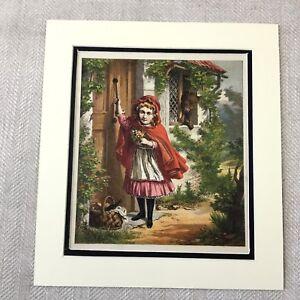 1865-Antik-Chromolithographie-Viktorianisch-Kind-Girl-Kleines-Rotkaeppchen-Druck
