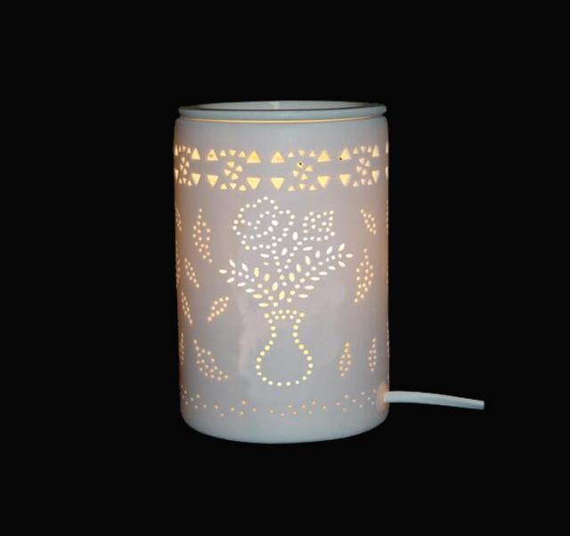 White Ceramic Flower Pot Electric Oil Burner Lamp  FREE wax & globe