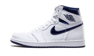 d7eb98f0383f New Air Jordan 1 Retro High OG White Metallic Midnight Navy Size ...