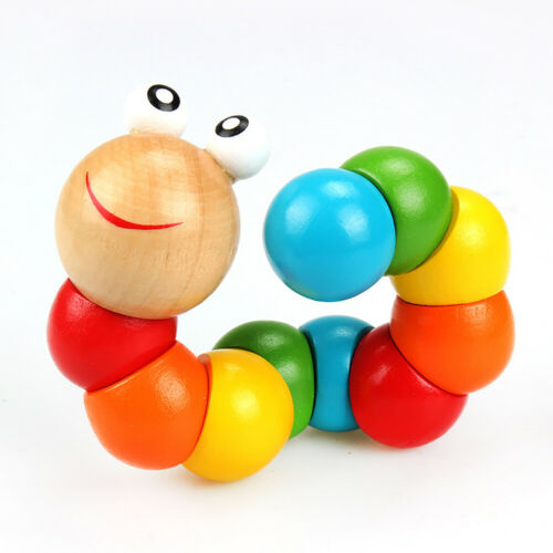 Colorful Wooden Worm Puzzle Kids Early Learning Educational Toy Finger Game Beam