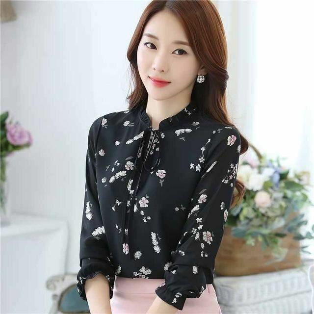 Blusas Women Tops Blouses Ladies Chiffon Long Sleeve Floral Shirt Women Slim Cam