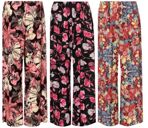 Mujer Floral Print Palazzo Pantalones Pantalones De Pierna Ancha Acampanada Señoras Impreso Verano