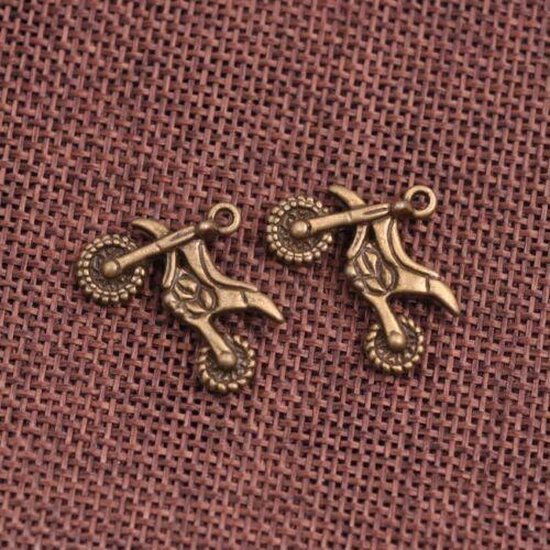 FREE SHIP 10Pcs Tibetan Silver Charm Motorcycle Pendant Jewelry 23x17MM A136