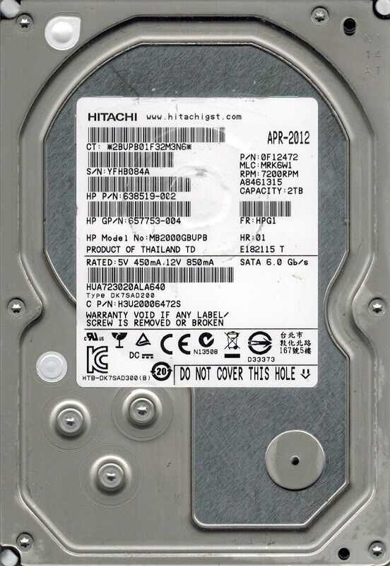 Kleine Gre Hitachi HUA723020ALA640 P/N: 0F12472 MLC: MRK6W1 2TB ...