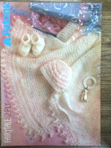 Patons Tejer patrón: bebé Chal patucos /& Bonnet 2ply un tamaño 3075