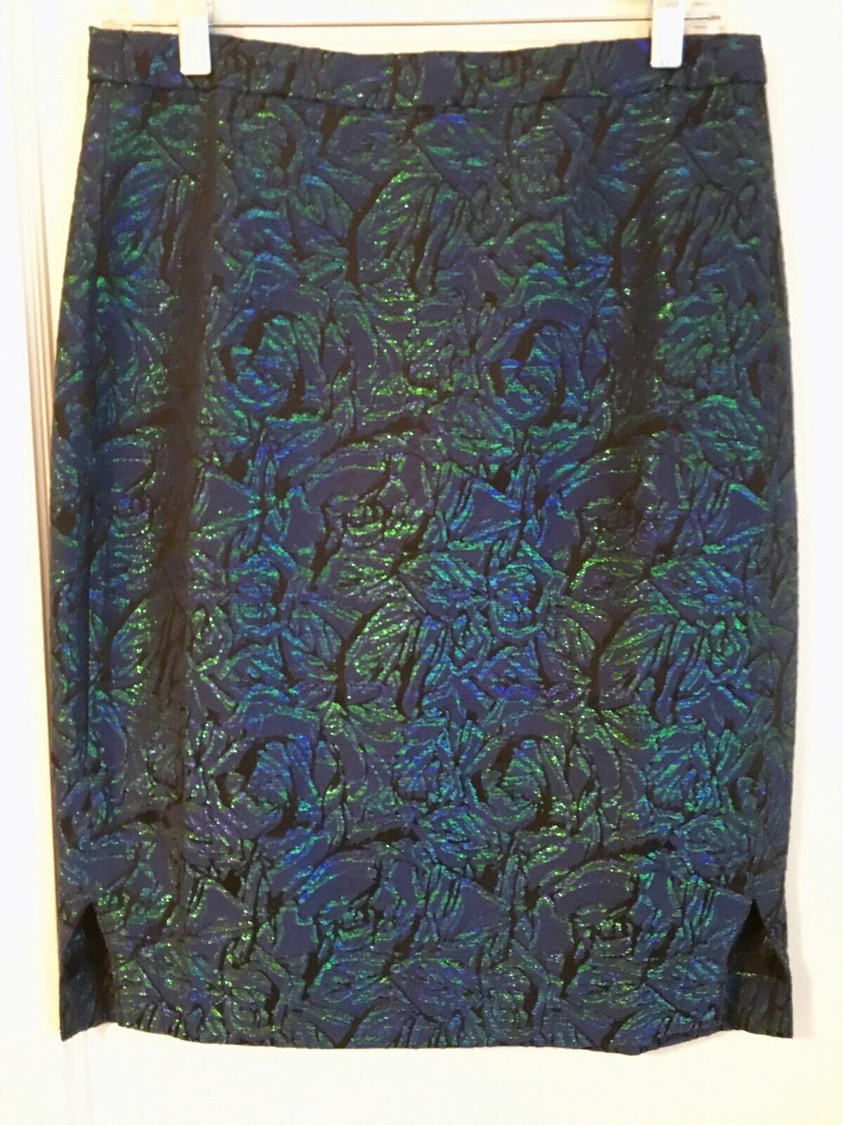 J CREW Pencil Skirt Metallic Jacquard sz 6 Brocade bluee Purple Green C9156 NEW