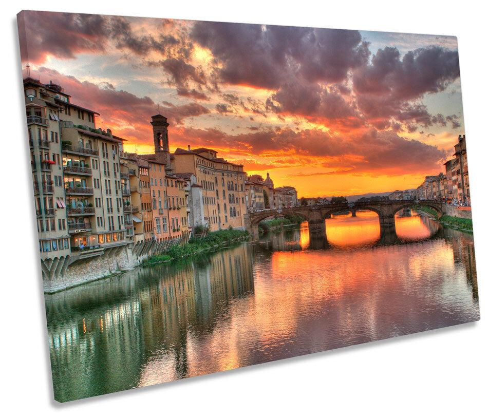 FIRENZE TRAMONTO TRAMONTO TRAMONTO PONTE ITALIA TELA SINGOLA Wall Art Print Picture e1a4b1