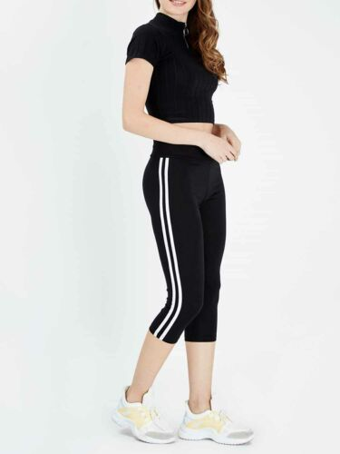 Ladies 3//4 Length Workout Pants Womens Active Black Side Stripe Cropped Leggings